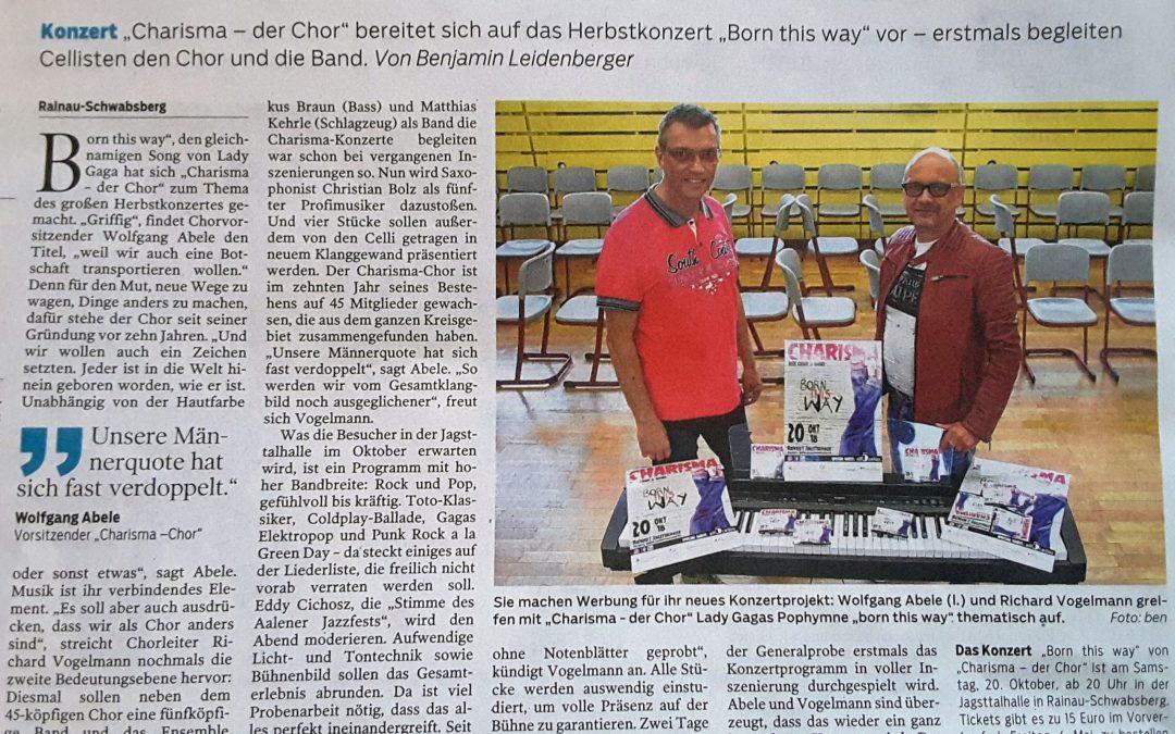 """Presse berichtet ausführlich vom Projekt """"Born this way"""" (Schwäbische Post 4.5.2018)"""